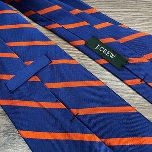 J. Crew Accessories - J. Crew Blue w/ Orange Stripe Silk Tie